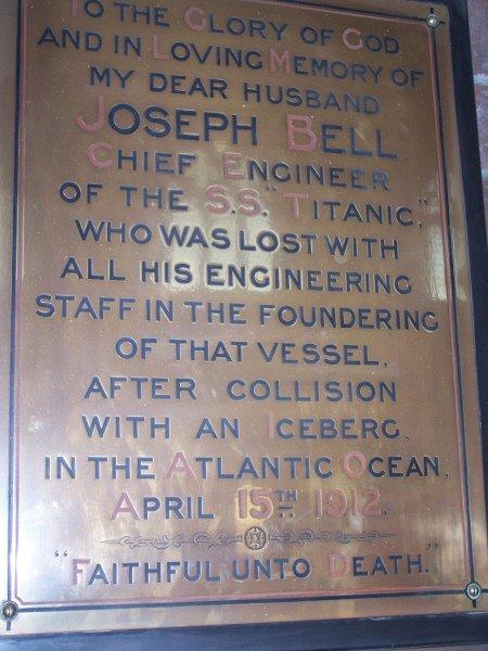 Le Mémorial de Joseph Bell, le Chef Mécanicien du Titanic