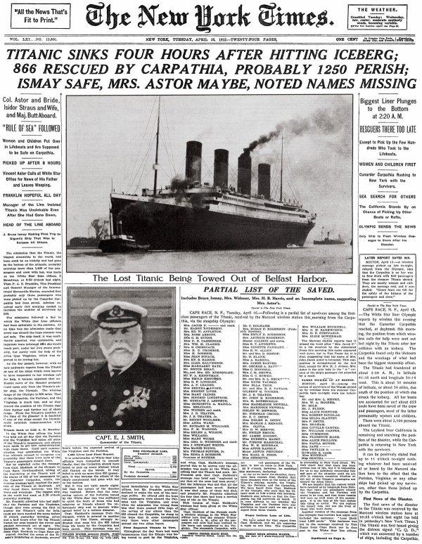 Les journalistes et le naufrage du Titanic
