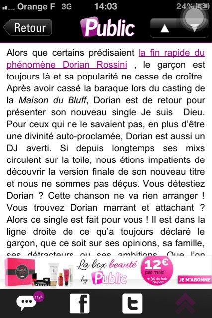 Dorian Rossini ''je suis Dieu'' en vente partout