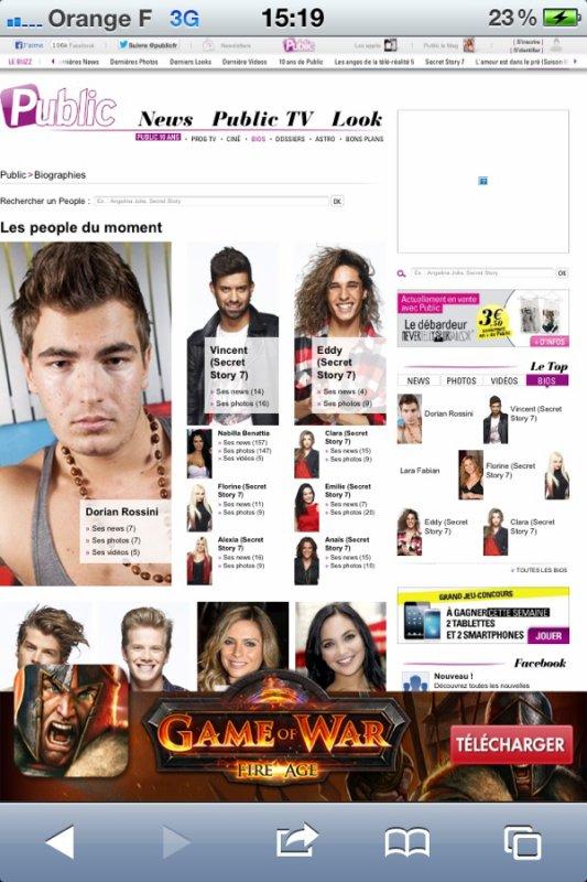 Dorian Rossini en une du site officiel du magazine public ''people du moment''
