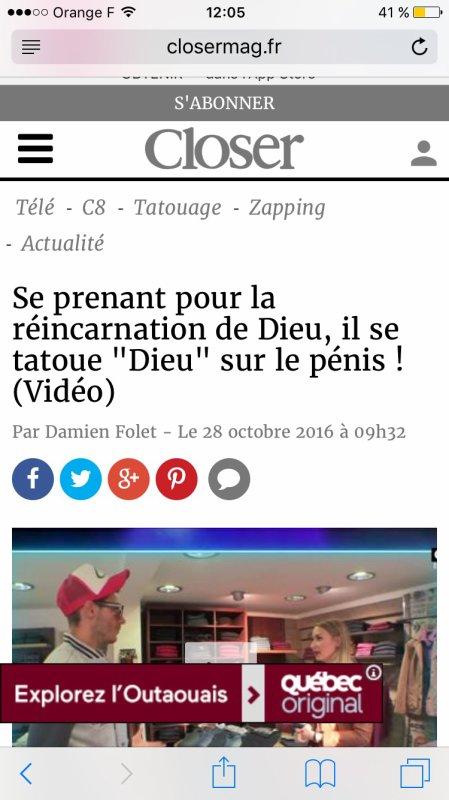 Gros succès de lemission les 7 péchés capitaux Dorian Rossini réincarnation de Dieu encore dans tous les zappings tele