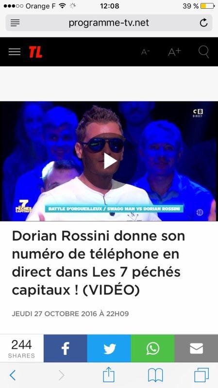 Dorian Rossini réincarnation de Dieu le seul capable de balancer son numéro en direct sur C8