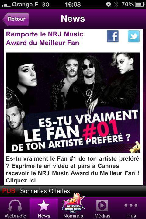 Keen'V ; Nominé au NRJ Music Awards !.
