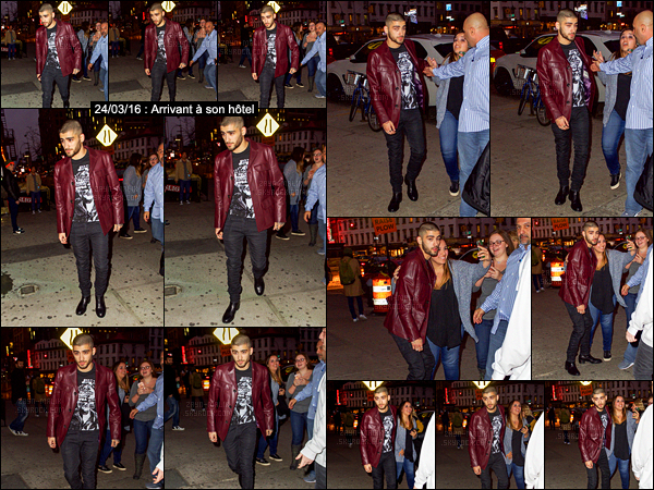 """"""" 24/03/16 : Le beau Zayn Malik a été photographié à la sortie de son hôtel à New-York entouré de ses fans.Plus tard dans la soirée, Zayn a cette fois-ci été photographié alors qu'il rentrait à son hôtel avec une tenue différente. Quel look aimez-vous le plus? """""""