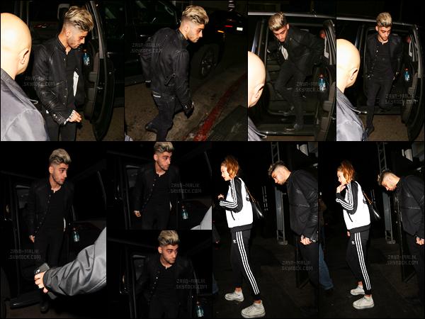 02/02/16 : Zayn a été aperçu alors qu'il quittait le bar « The Nice Guy » à West Hollywood avec Gigi Hadid !Après un court séjour sur Londres, Zayn est de retour à Los Angeles. Celui-ci a d'ailleurs confirmé sa relation avec le « mannequin » lors d'une interview.