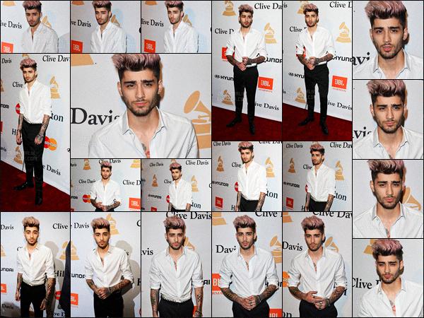 14/02/2016 : Zayn était à la cérémonie des « Clive Davis Pre-Grammy Gala » qui se déroulait à Beverly Hills.Première apparition publique depuis que le beau pakistanais a sortit sa première chanson solo. Harry Styles était également présent lors de la soirée.
