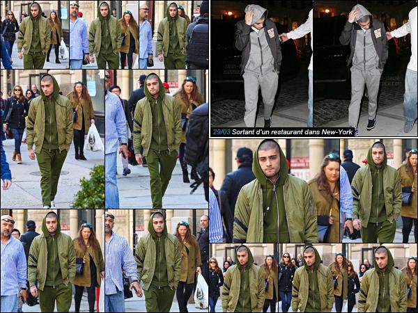 """"""" 30/03/16 : Zayn Malik a été photographié alors qu'il se promenait, seul, dans les rues de New-York ! (USA)C'est dans sa combinaison Shrek que Zayn s'est promenait dans la ville. La veille, il a été photographié alors qu'il quittait un restaurant dans la ville.  """""""