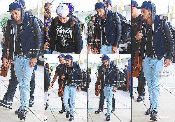 """"""" 27/08/13 : Les One Direction se sont rendus à l'aéroport de « JKF » pour y prendre un vol direction Londres. Zayn transportait tout sa horde de sacs. J'ai l'impression qu'il ramène son dressing à chaque voyage. Je n'aime pas ses baskets, c'est un petit top.  """""""