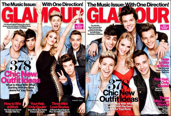 * Le groupe fait la couverture du magasine « Glamour » datant du mois d'Août 2013. Sur cette couverture, les garçons partagent la vedette avec Rosie Huntington-Whiteley, mannequin du Victoria Secret. Donnez vos avis ! *