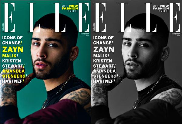 - Le magazine féminin version UK « ELLE » consacre sa couverture à Zayn pour son numéro de Septembre ! Le numéro est consacré aux icons du changement. Kristen Stewart et d'autres ont également eu la chance de faire la couverture du magazine féminin ! -