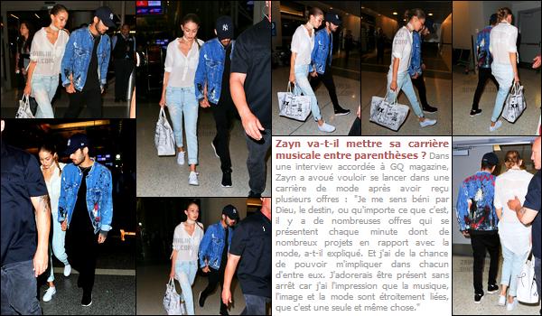 12/08/2016 : Zayn a été aperçu alors qu'il arrivait à l'aéroport international de « L.A.X » situé à Los Angeles.Zayn était accompagné de sa petite-amie Gigi Hadid. Les deux ont pris un vol vers une destination encore inconnue mais qui semble être New-York !