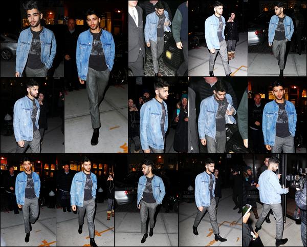 09/12/2016 : Zayn a été photographié lorsqu'il arrivait à l'appartement de sa petite-amie situé à New-York.C'est dans une toute autre tenue qu'il a été vu en rentrant chez lui. Dans la même journée, il sortait une chanson en featuring avec Taylor Swift ...