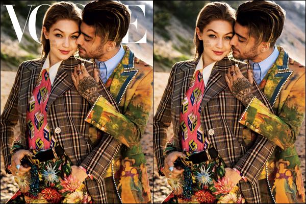 """"""" Zayn et Gigi font la première de couverture du magazine américain ─ « Vogue USA »  Ce couple me donne vraiment la gerbe. Je les trouve insupportable autant l'un que l'autre. J'aime vraiment pas cette couverture bien trop photo-shoppé. """""""