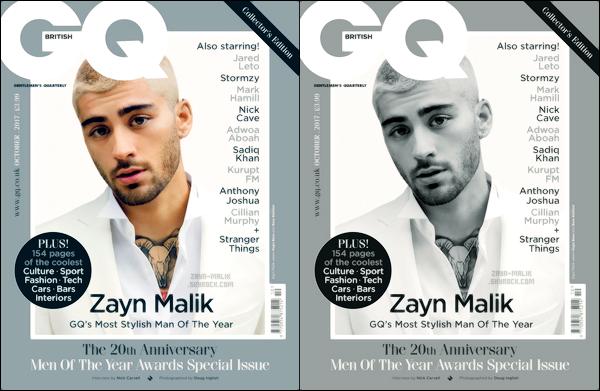 """"""" Zayn fait la première de couverture du magazine britannique « GQ » édition d'octobre.  En effet, celui-ci a été récompensé comme étant « l'homme le plus stylé de l'année » lors de la cérémonie qui était organisé hier à Londres. J'adore ! """""""