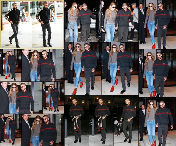 """. '14.09.2017' '─' Zayn a été photographié alors qu'il sortait de l'appartement de Gigi Hadid situé à Manhattan !  C'est avec sa petite amie Gigi que Zayn quittait le logement, celui-ci l'a accompagné prendre un jet privé à l'aéroport. Je n'aime pas vraiment sa tenue... """""""