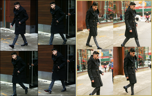 """. """"08.01.2018"""" '─' Zayn a été photographié alors qu'il sortait de l'immeuble de Gigi Hadid situé dans New-York.  Selon l'équipe de Zayn, celui-ci avait beaucoup de rendez-vous dans la journée. Je ne sais pas pour quelles raisons étaient ses rendez-vous. Il est super. """""""