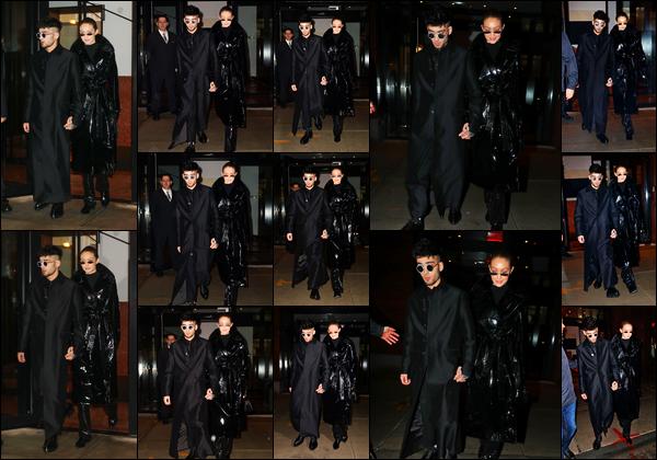 """. """"12.01.18"""" '─' C'est le jour de son anniversaire que Zayn a été vu quittant l'immeuble de Gigi dans New-York.  Pour cette occasion, Zayn a organisé une fête sur le thème du film Matrix. Je ne suis pas trop fan de la tenue du couple pour être honnête.. Un gros bof ! """""""