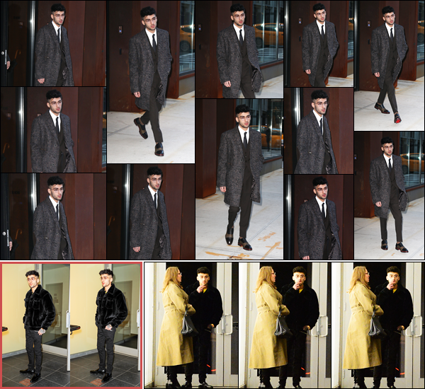 """. """"24.01.18"""" '─' Zayn a été aperçu alors qu'il quittait son logement pour se rendre à son label Sony à New-York.  En effet, Zayn Malik avait des rendez-vous à Sony pour diverses raisons. Un peu plus tard en soirée, il a été photographié à un studio d'enregistrement ! """""""