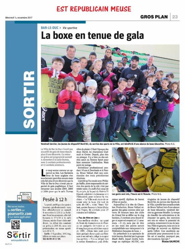 LA BOXE DE RETOUR A BAR LE DUC SAMEDI 4 NOVEMBRE...