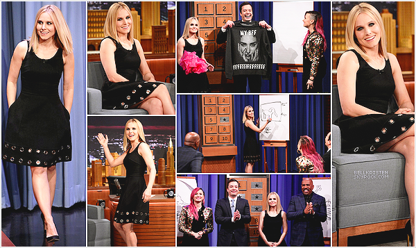 10.03.2014 - Kristen Bell était sur le plateau du 'The Tonight Show with Jimmy Fallon' au Rockefeller Center.En pleine promotion de Veronica Mars, elle a bien sur parler du film et a jouer a Pictionnary avec la chanteuse Demi Lovato.