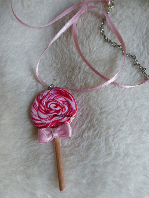 Collier sucette lollipop rouge