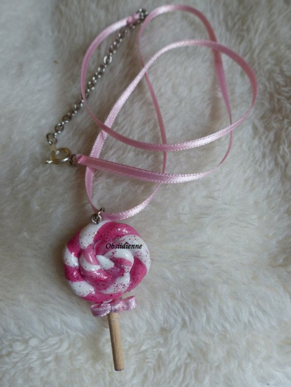 Collier sucette lollipop rose