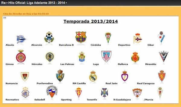 Les résultats finals de la 16 journées de la Liga Adelante 2013-2014