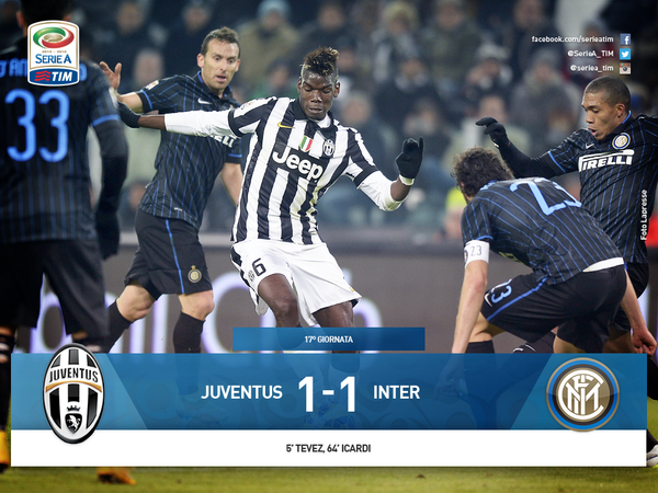 La Juventus débute mal l'année 2015 en étant tenu en échec à domicil contre l'Inter.
