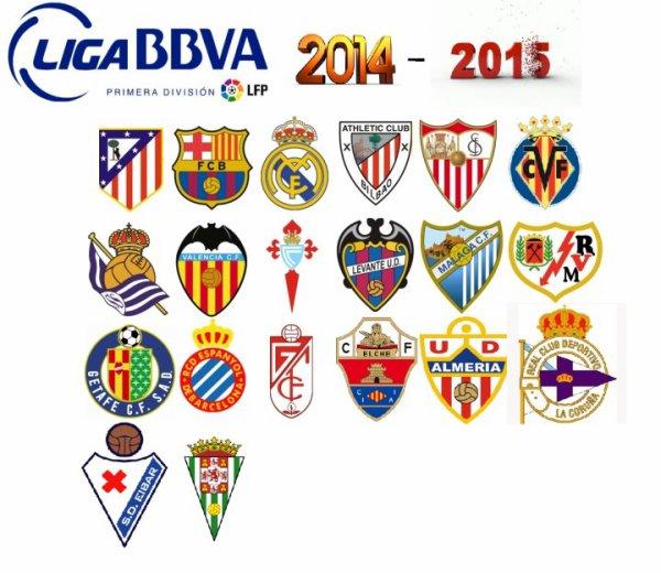 Les résultats finals de la 38 dernières journées de la Liga BBVA 2014-2015.