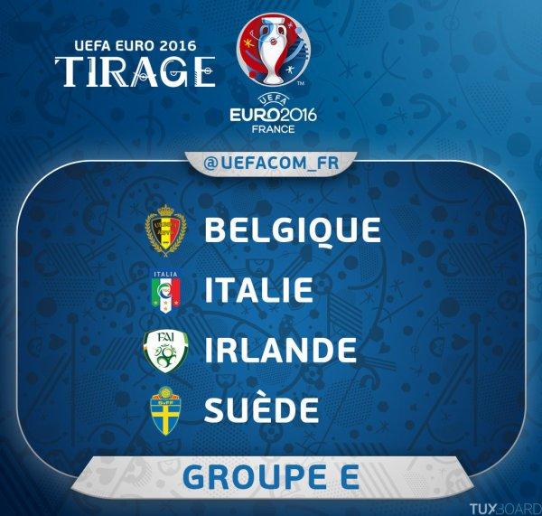 Je vous présente le groupe E pour l'Euro 2016 qui s'organise en France.