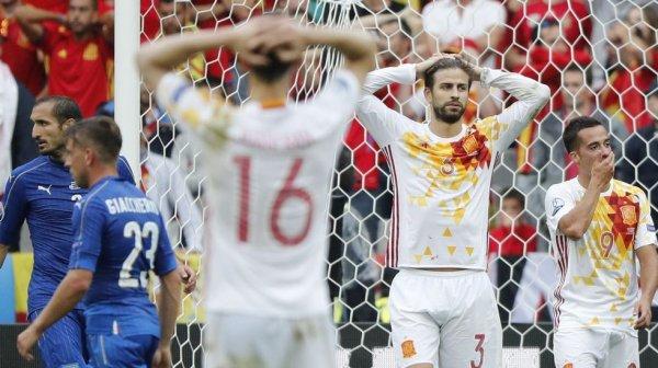 L'Espagne s'est fait éliminer en 1/8 de final en perdant contre une bonne équie de l'Italie.