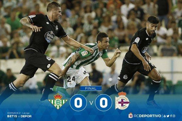EL Deportivo consiguio llevar un buen punto en su visita al Betis con un empate.