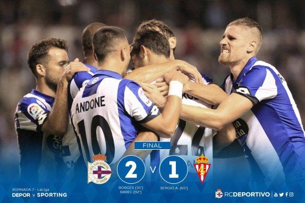 El Deportivo consiguio un triunfo importante contra el Sporting en Riazor.