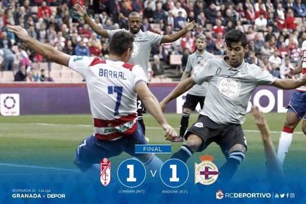 El Deportivo consiguio un valioso empate sobre el campo del Granada.