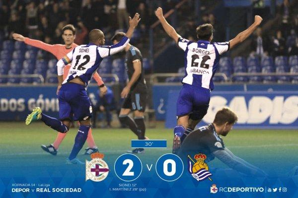 Grande triunfo del Deportivo que logro un resultado contunte contra la Real Sociedad.
