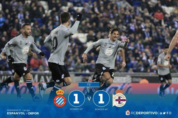 El Deportivo consiguio un punto valioso sobre el campo del Espanyol con un empate.