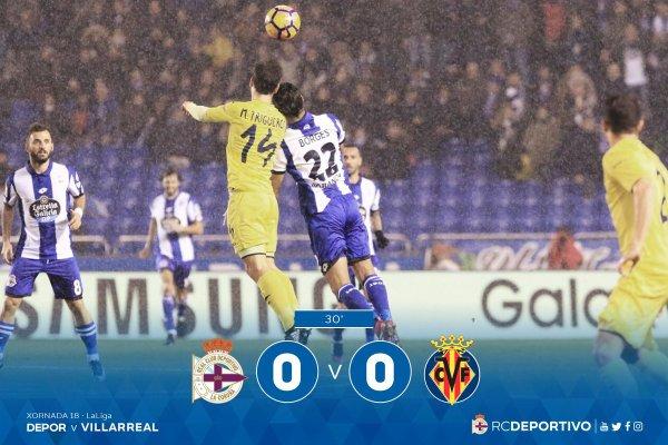 El Deportivo merecio de ganar contra el Villarreal pero al final pudo solalemente empatar