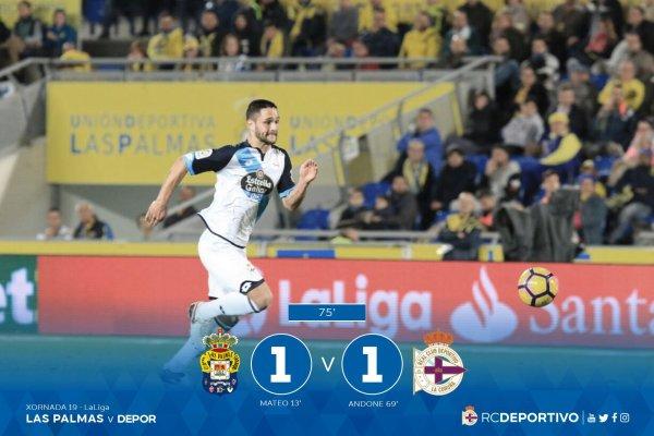 El Deportivo consiguio llevar un buen punto de su visita en el campo de Las Palmas.
