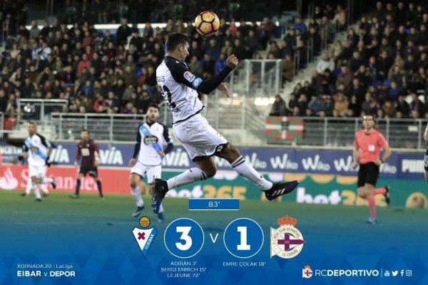 El Deportivo cayo injustamente sul campo del Eibar en el estadio de Ipurua.