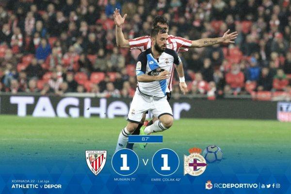 Derrota injusta del Deportivo sobre el campo del Athletic en San Mamés.