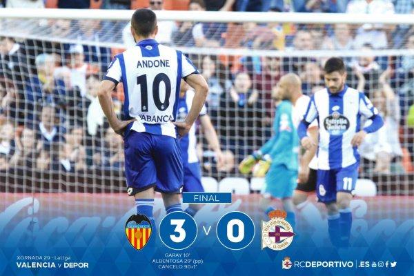 El Deportivo no tuve suerte al cayer derrotado sobre el campo del Valencia.