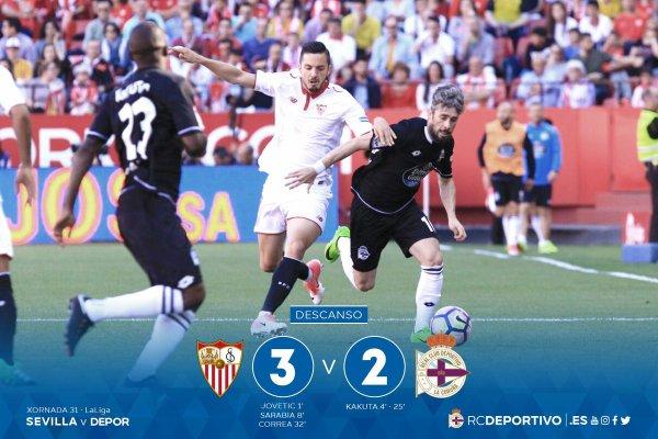 El Deportivo cayo derrotado con dignidad sobre el campo del Sevilla.