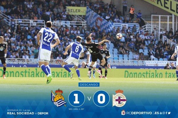 El Deportivo perdio sobre un pequeno resultado en el campo de la Real Sociedad.