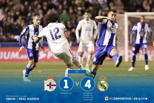 El Deportivo perdio duramente con un resultado muy castigado contra el Real Madrid.