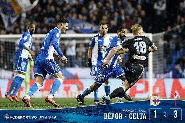 El Deportivo perdio duranmente en su proprio campo contra el Celta en el derby Gallego.