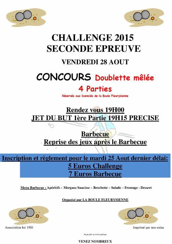 2ème épreuve du challenge 2015