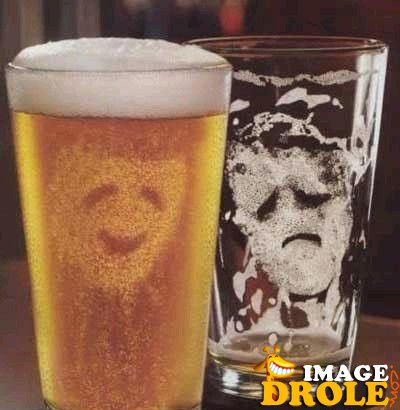 biere joyeux malheureux