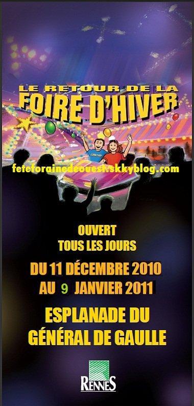 RENNES (35) Foire d'hiver Du 11 Décembre au 9 janvier 2011