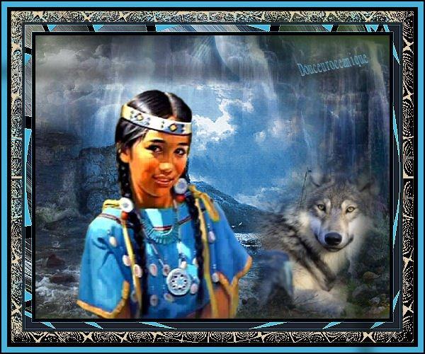 jeune indienne et loup