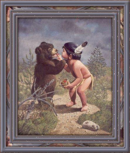 tableau petit indien et son ours